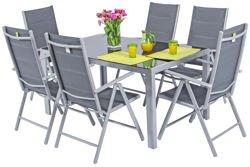 Meble ogrodowe składane aluminiowe WENECJA Stół i 6 krzeseł - Srebrne