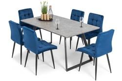 Stół PORTLAND (200/160x90) i 6 krzeseł DIANA - komplet do salonu - szaro-niebieski