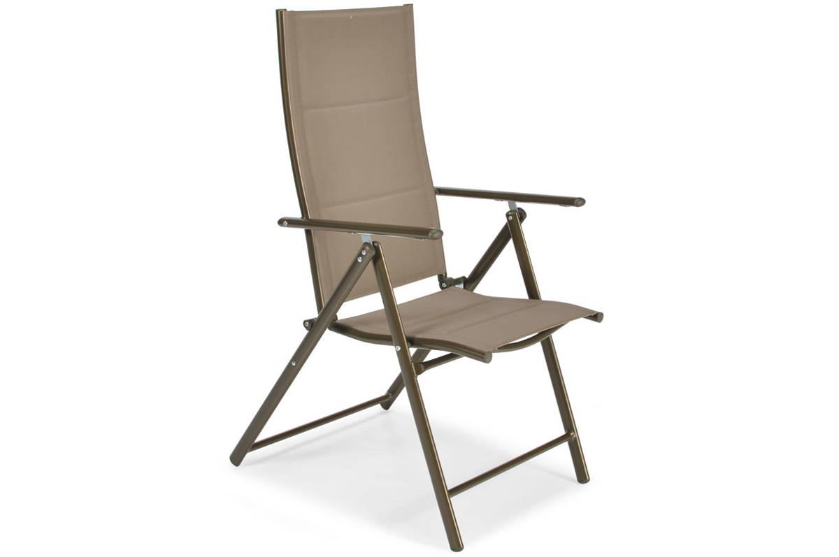 Krzesło Ogrodowe Składane Aluminiowe Modena Brązowe