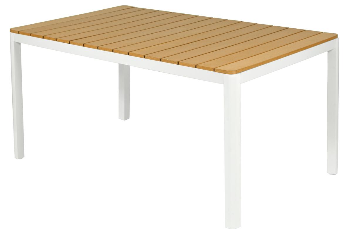 Meble Ogrodowe Aluminiowe Verona Legno Stół I 6 Krzeseł Białe