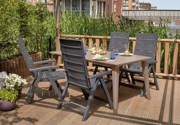 Duży 6-osobowy stół ogrodowy LIMA 160 cm - cappuccino