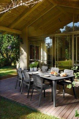 Duży 6-osobowy stół ogrodowy LIMA 160 cm - grafitowy