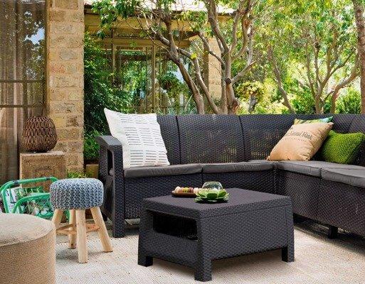 Duży narożnik ogrodowy CORFU Relax + stoliczek kawowy - grafitowy