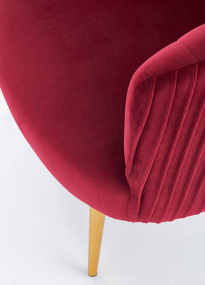 Krzesło fotel do salonu glamour CROWN Gold - bordowy