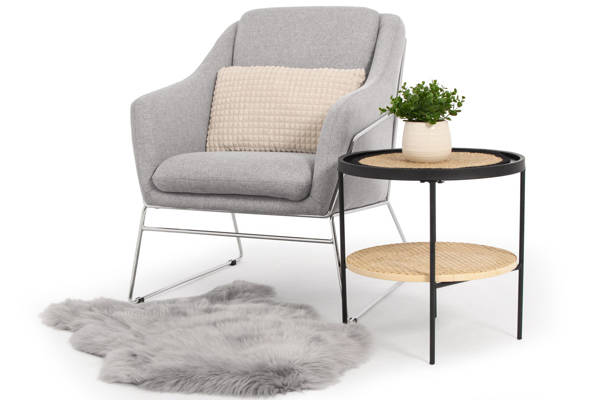 Krzesło fotel do salonu loft SOFT CHROM - jasny szary