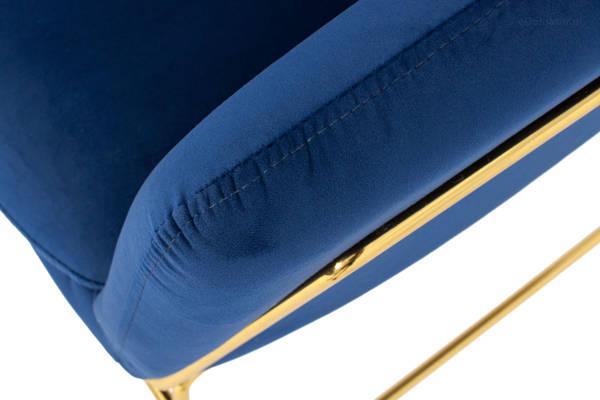 Krzesło fotel do salonu loft SOFT GOLD - granatowy