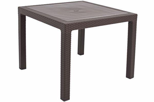 Kwadratowy stół ogrodowy MELODY Quartet 95x95 cm - brązowy