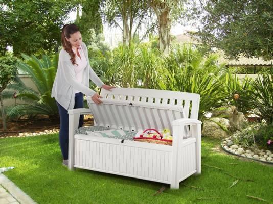 Ławka ogrodowa ze skrzynią PATIO BENCH 227 l - biała
