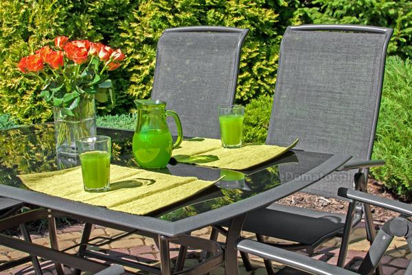 Meble ogrodowe składane aluminiowe VEGAS Stół i 6 krzeseł - Czarne