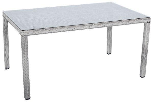 Meble ogrodowe technorattan MALAGA Stół i 6 krzeseł - Szare