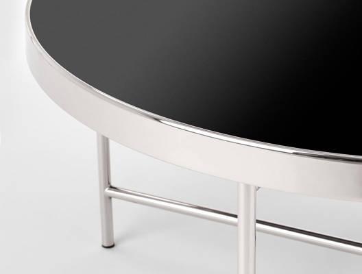 Niski stolik MORIA w stylu glamour srebro / czarny