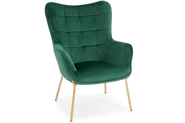 Nowoczesny fotel LOFT CASTEL 2 ze złotymi nóżkami - ciemna zieleń