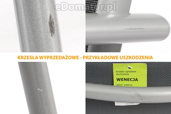 OUTLET - Krzesło ogrodowe WENECJA  - Srebrne