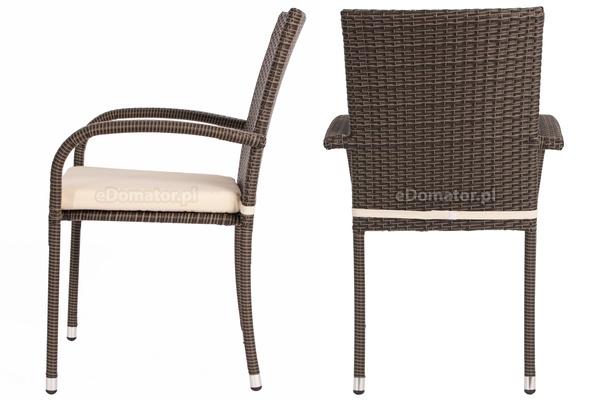 OUTLET - Krzesło ogrodowe z technorattanu MALAGA - brązowe