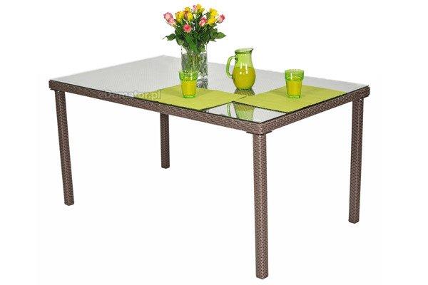 OUTLET - Stół ogrodowy z technorattanu MALAGA - brązowy