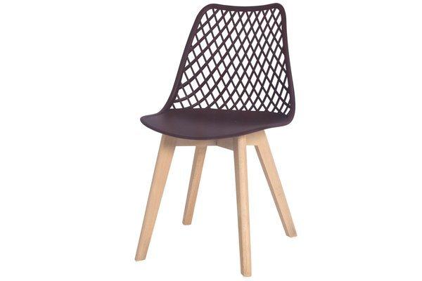 OUTLET - ażurowe krzesło NICEA - brązowe