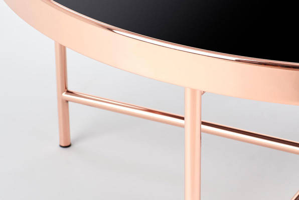 Okrągły szklany stolik MORIA 82 cm miedź / czarny