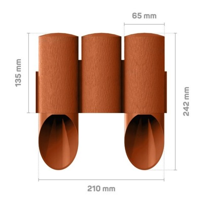 Palisada ogrodowa MAXI 2,1 m - ceglasta