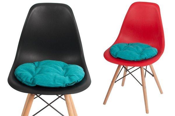 Poduszka okrągła na krzesło OFELIA 40 cm - turkusowa