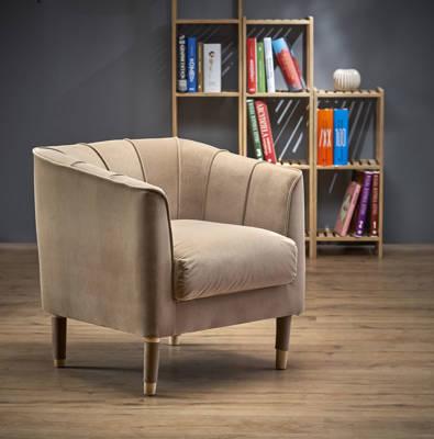 Skandynawski fotel tapicerowany BALTIMORE- beżowy nude