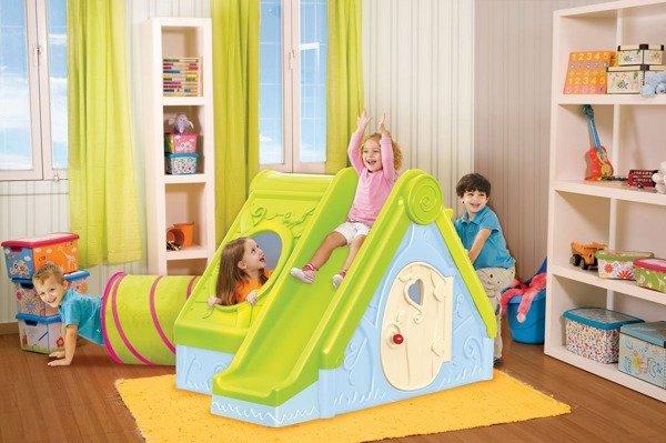 Składany domek dla dzieci ze zjeżdżalnią 3 w 1 FUNTIVITY niebieski KETER