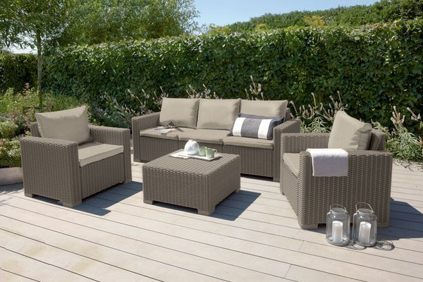 Sofa ogrodowa CALIFORNIA 3-osobowa - cappuccino