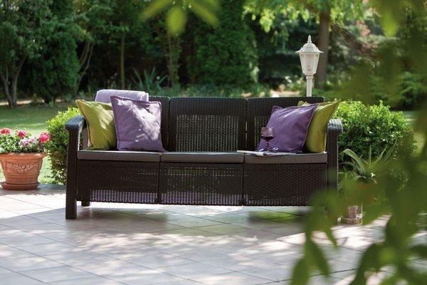 Sofa ogrodowa CORFU Max Love Seat 3-osobowy - brązowa
