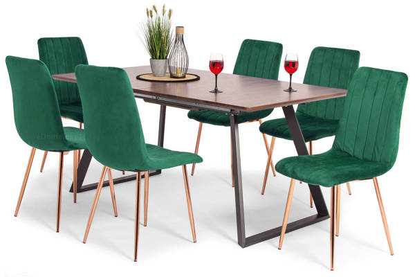 Stół PORTLAND (200/160x90) i 6 krzeseł SOFIA - komplet do jadalni - brąz + zielony