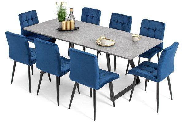 Stół PORTLAND (200/160x90) i 8 krzeseł DIANA - zestaw do jadalni - szary + niebieski