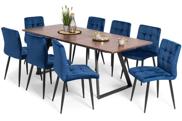 Stół PORTLAND (200/160x90) i 8 krzeseł DIANA - zestaw mebli do jadalni - brąz + niebieski