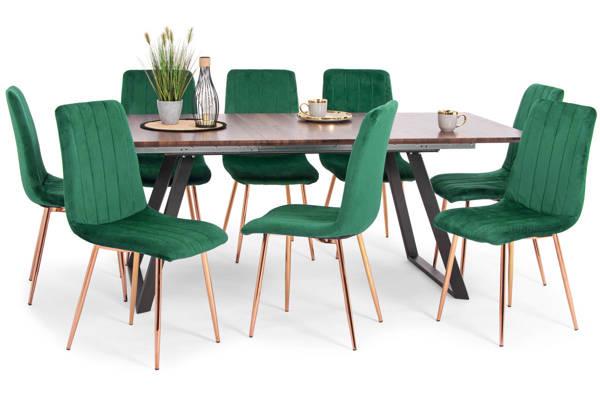 Stół PORTLAND (200/160x90) i 8 krzeseł SOFIA - zestaw mebli do jadalni - brązowo-zielony