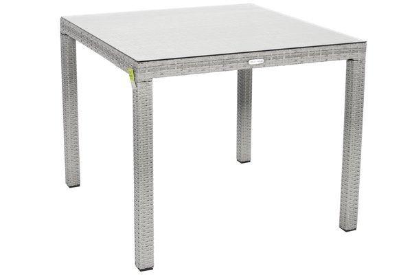 Stół ogrodowy z technorattanu MALAGA 90 - szary