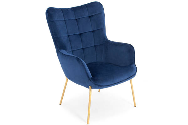 Tapicerowany fotel CASTEL 2 ze złotymi nóżkami - granatowy
