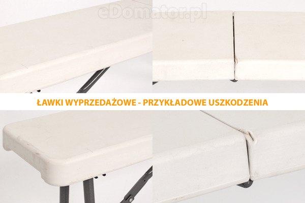 WYPRZEDAŻ - ŁAWKA CATERINGOWA Składana  dł. 183 cm  Biała