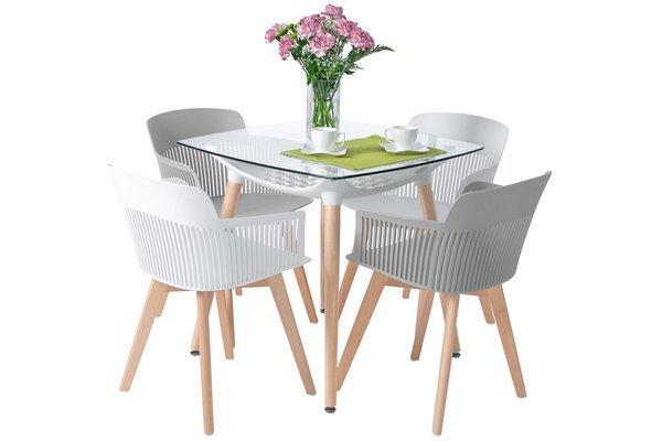 Zestaw dla 4 osób do jadalni - stół kwadratowy LUNA i 4 krzesła IMPERIA