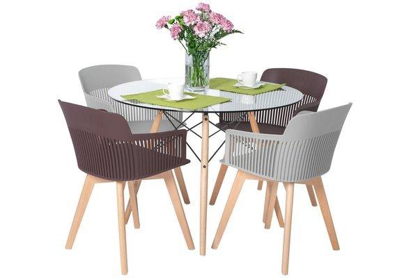 Zestaw dla 4 osób do jadalni - stół okrągły LUNA i 4 krzesła IMPERIA