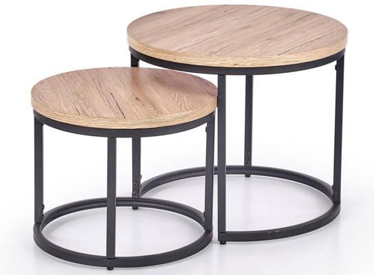 Zestaw dwóch stolików do salonu OREO - dąb san remo
