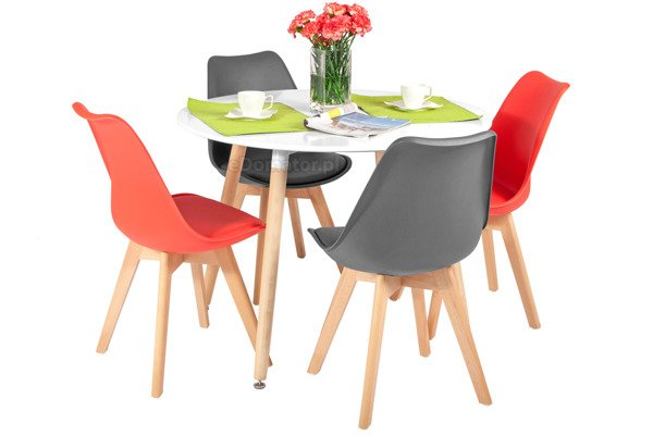 Zestaw mebli do jadalni stół okrągły MEDIOLAN i 4 krzesła BOLONIA