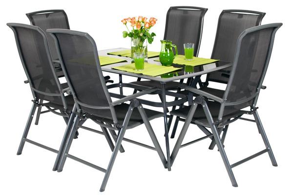 Zestaw ogrodowy aluminiowy VEGAS Stół i 6 krzeseł - Czarne